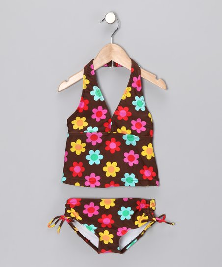 Brown Floral Tankini - Girls