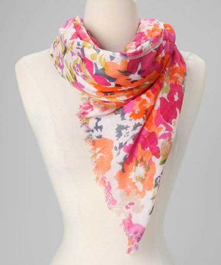 Orange Floral Scarf