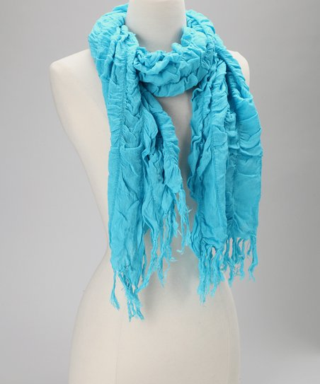 Turquoise Scrunched Scarf