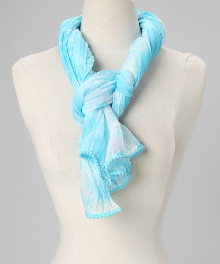 Turquoise Watermark Silk-Blend Scarf