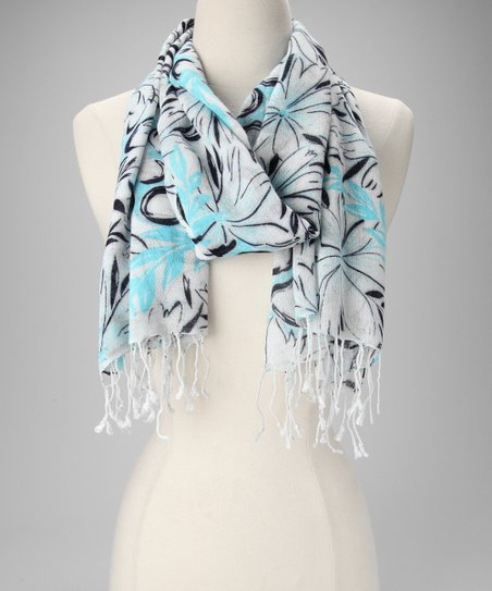 Blue Plumeria Scarf