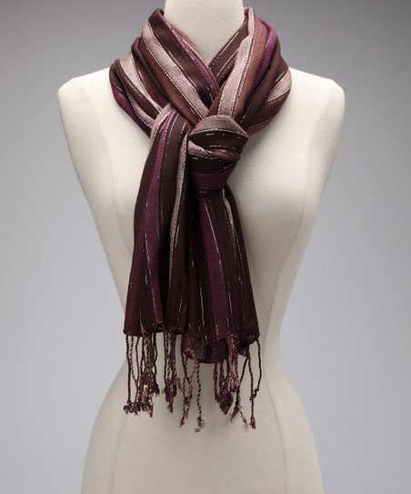Aubergine Brown Metallic Stripe Scarf