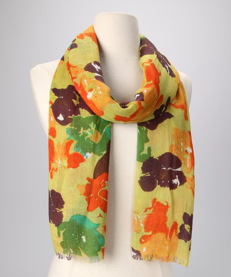 Lime Okeefe Flowers Scarf