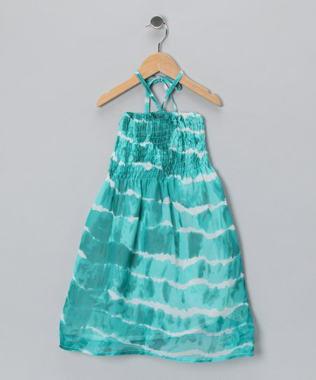 Teal Wave Shirred Halter Dress - Toddler & Girls