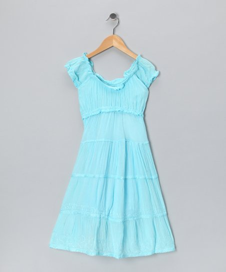 Blue Scoop Neck Dress - Toddler & Girls