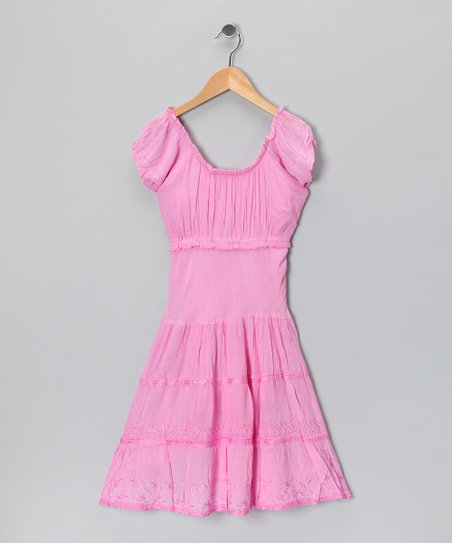 Pink Scoop Neck Dress - Toddler & Girls