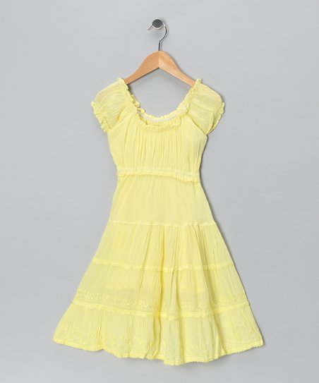 Yellow Scoop-Neck Dress - Girls
