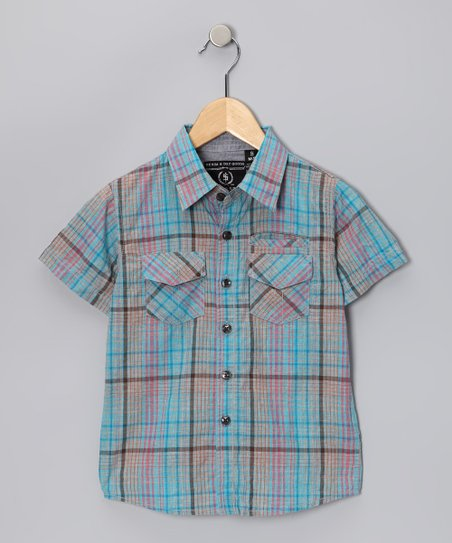 Blue Plaid Bruce Button-Up - Boys