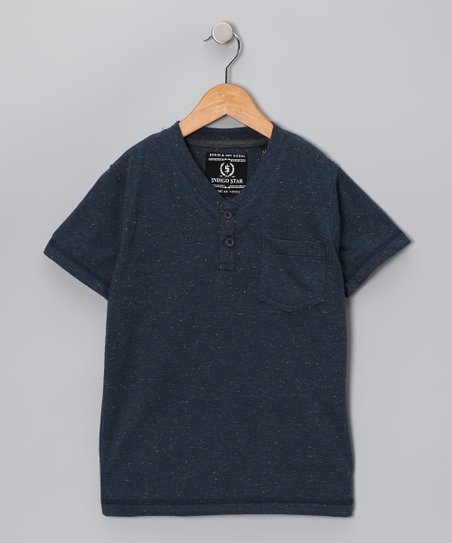 Navy Heathered Dang Henley - Boys