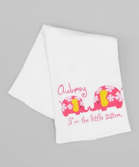 White & Pink 'Little Sister' Personalized Burp Cloth