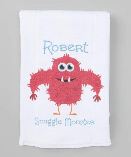 White Hairy 'Snuggle Monster' Personalized Burp Cloth