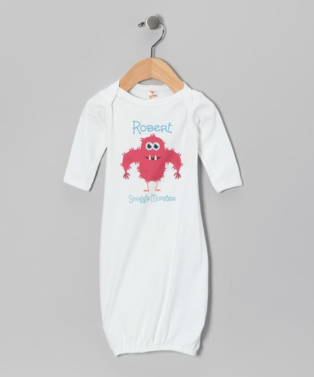 White Hairy 'Snuggle Monster' Personalized Gown - Infant