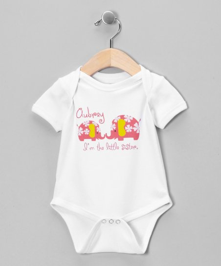 White & Pink 'Little Sister' Personalized Bodysuit - Infant