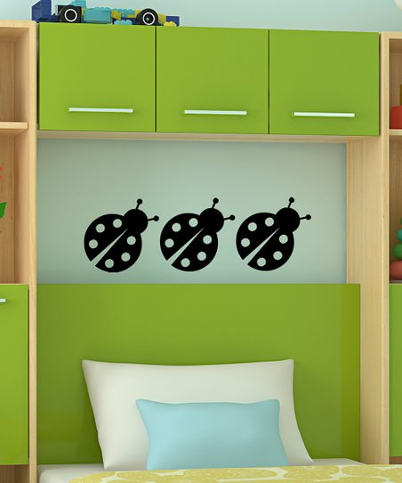 Black Chatty Ladybug Decal - Set of Three