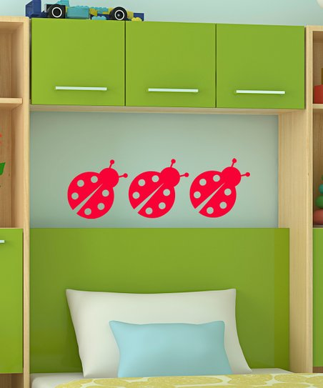 Red Chatty Ladybug Decal - Set of Three