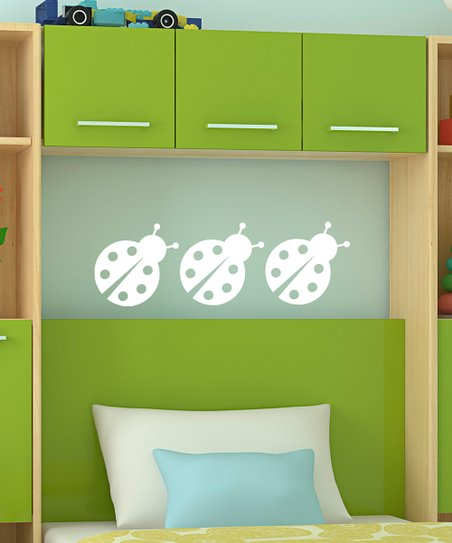 White Chatty Ladybug Decal - Set of Three