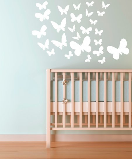 White Fluttering Butterfly Decal Set