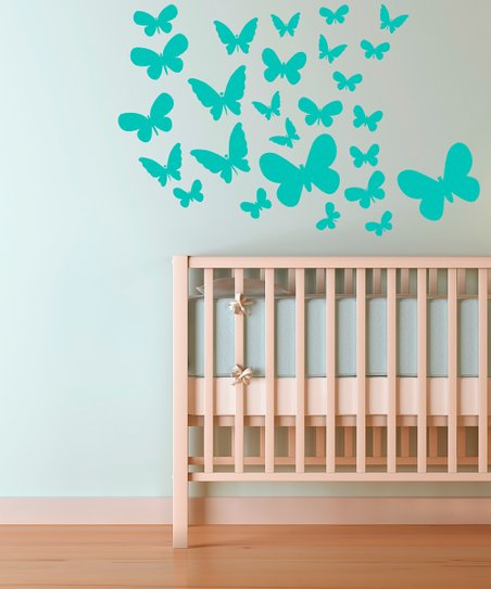 Mint Fluttering Butterfly Decal Set