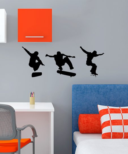Black Skateboarding Action Decal Set