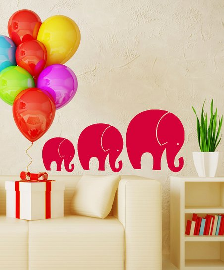 Red Tromping Elephant Decal Set