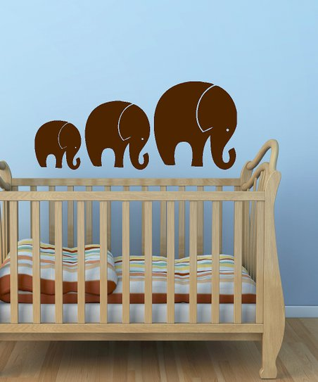 Brown Tromping Elephant Decal Set