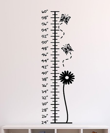 Black Bloom & Butterflies Growth Chart Decal