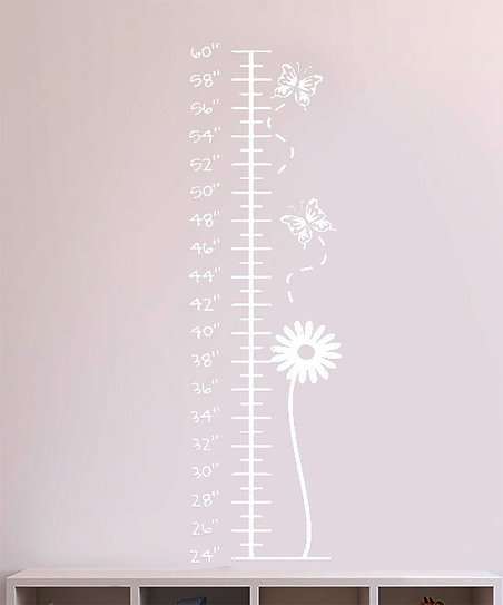 White Bloom &amp; Butterflies Growth Chart Decal