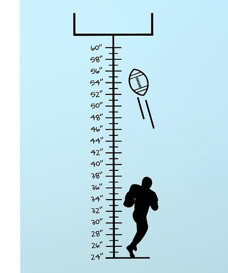 Black Ready, Set, Football Growth Chart Decal