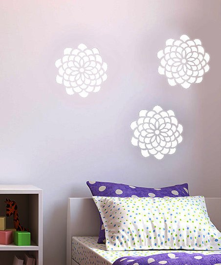 White Pop Flower Decal Set