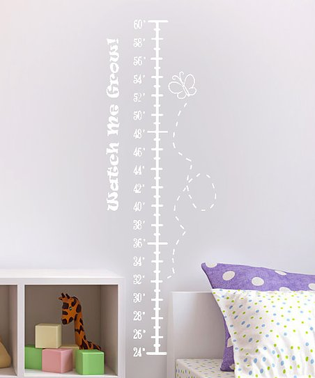 White Fluttering Butterfly Growth Chart Decal