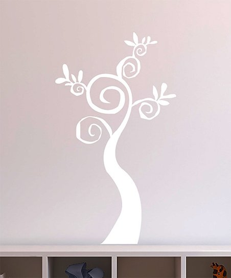 White Swirl Tree Decal