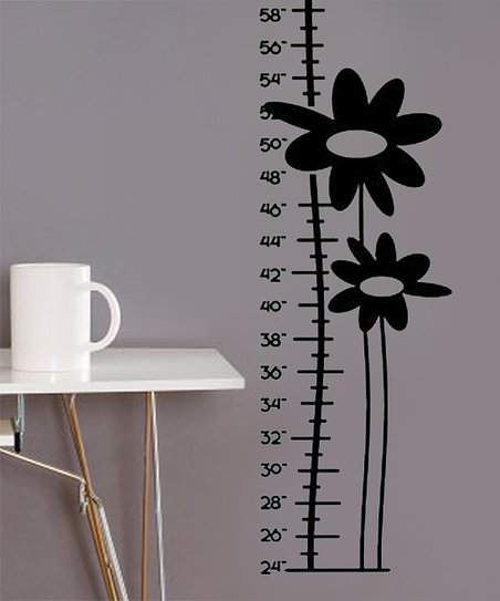 Black Growing Flower Growth Chart Decal