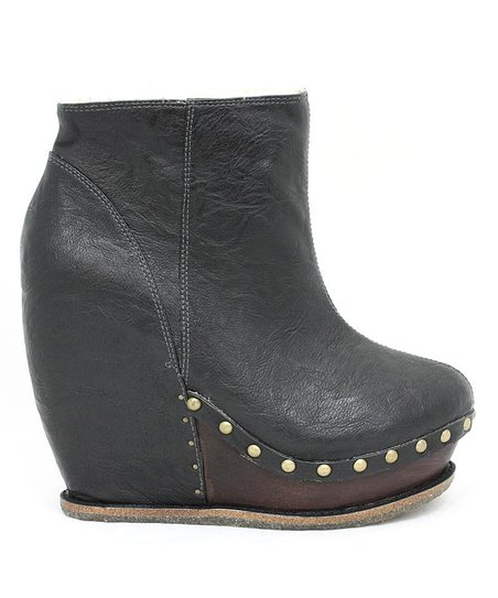 Gray Sugar & Candy Leather Wedge Boot