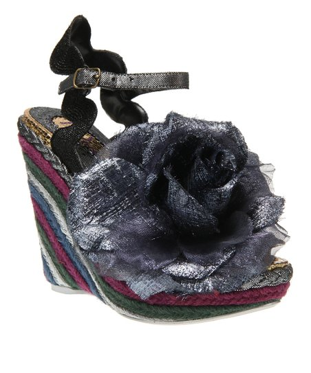 Black Weaver Wedge Sandal