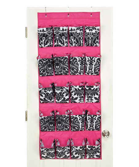 Black & Pink Damask 20-Pocket Hanging Organizer