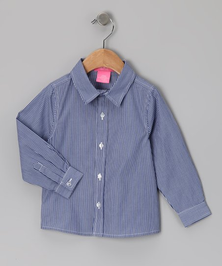 New York-Designed Blue Stripe Button-Up