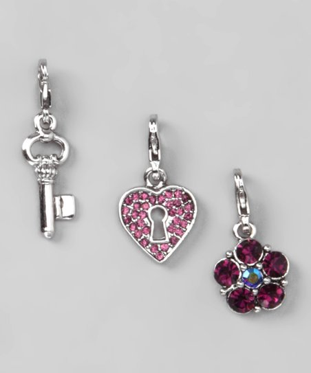 Pink & Purple Key to My Heart Charm Set