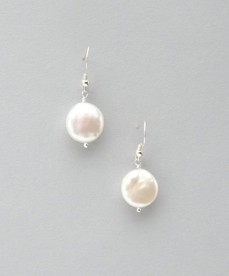 Silver & White Coin Pearl Earrings