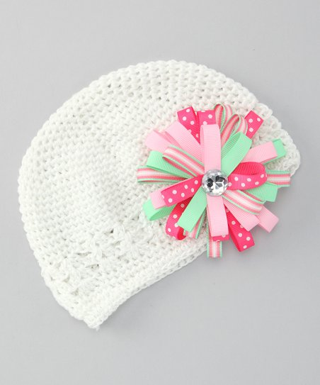 White Beanie & Green Flower Clip