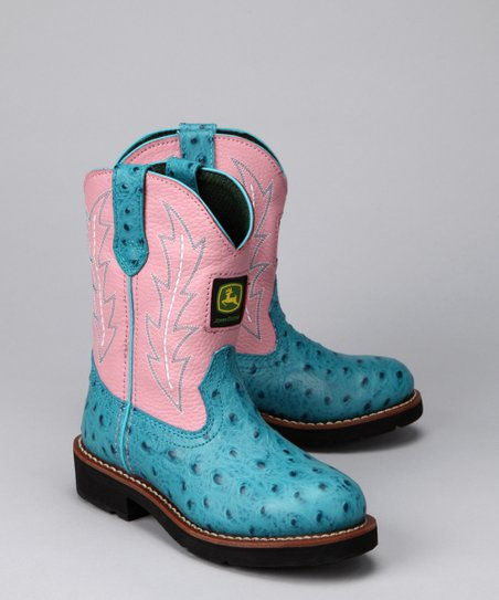 Blue &amp; Pink Ostrich Wellington Cowboy Boot 