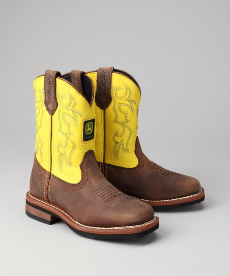Kids Brown Square-Toe Wellington Cowboy Boot