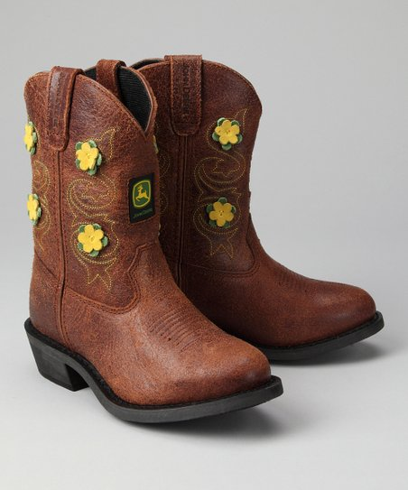 Brown Floral Wellington Cowboy Boot