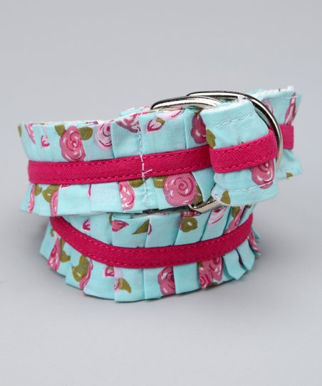 Blue Floral Ruffle Belt