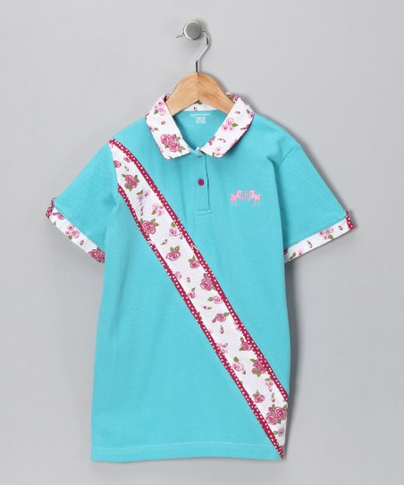 Blue Floral Polo - Girls