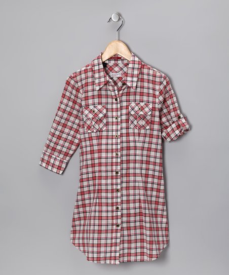 Red Plaid Button-Up Tunic - Girls