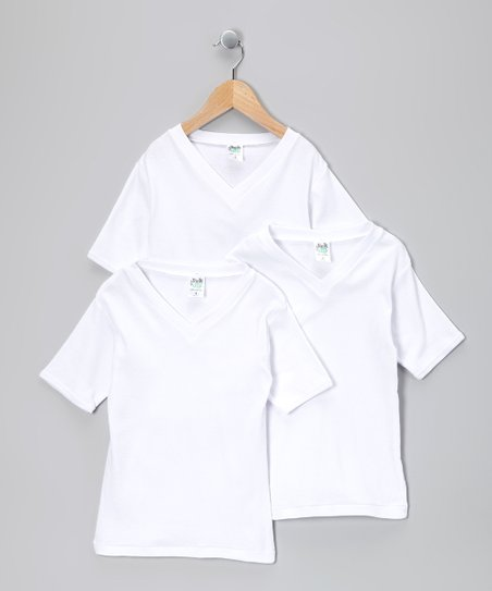 White V-Neck Tee Set - Toddler & Boys