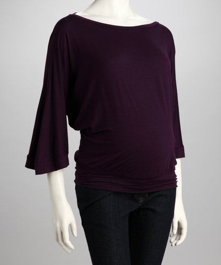 Purple Maternity Boatneck Top