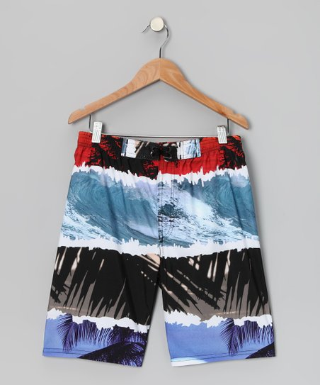 Blue & Black Island Boardshorts - Boys