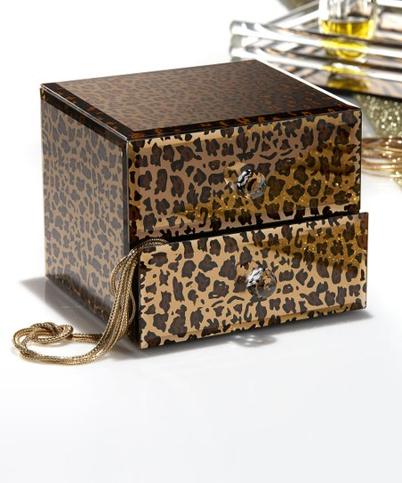 Leopard Mirror Two Drawer Jewelry Box