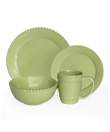 Jay Import Verde Bianca Bead 16-Piece Dinnerware Set